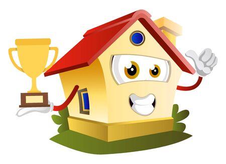 House is holding trophy, illustration, vector on white background. Illustration