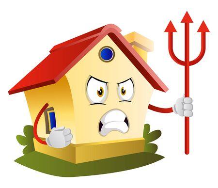House is holding devil's trident, illustration, vector on white background.