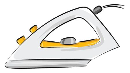 A yellow and white electric iron to iron the creased clothes, vector, color drawing or illustration.