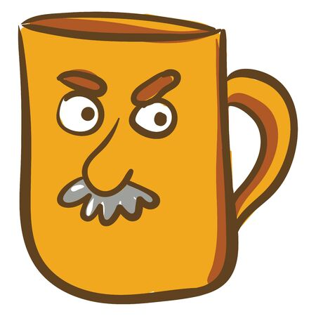 An illustration of a yellow color Mug with angry face of man with Moustache, vector, color drawing or illustration.