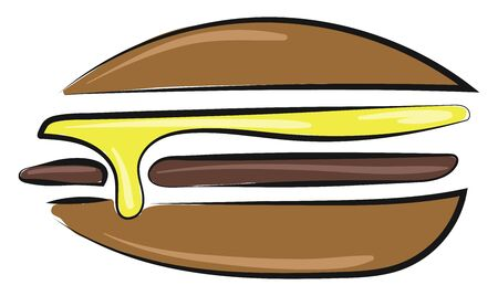 A sandwich with yellow mustard and a chicken slice in it, vector, color drawing or illustration.