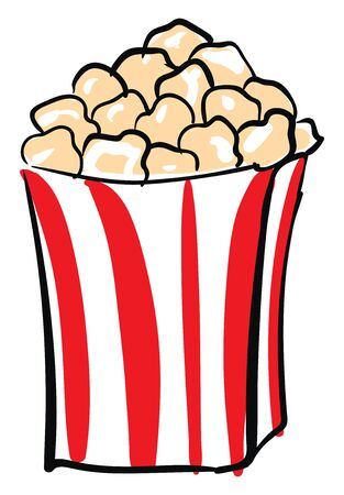 Cheesy popcorn in red and white container, kids favorite snack, vector, color drawing or illustration.