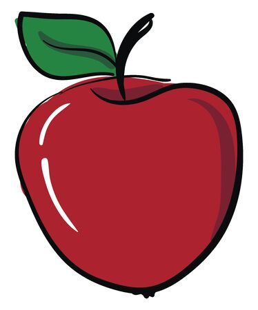 A red apple with a green leaf. Juicy, healthy, tasty fruit, vector, color drawing or illustration.