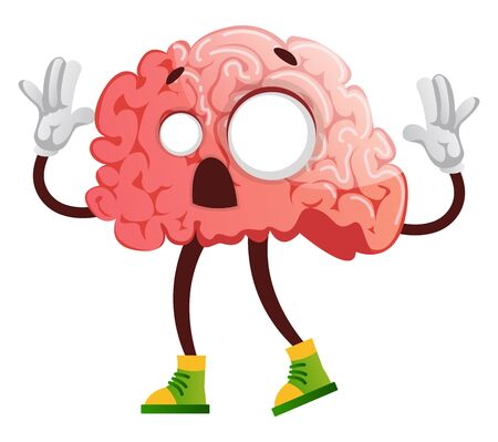 Brain is acting like a zombie, illustration, vector on white background.