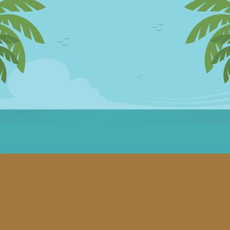 Clear blue sky and calm sea, vector, color drawing or illustration.