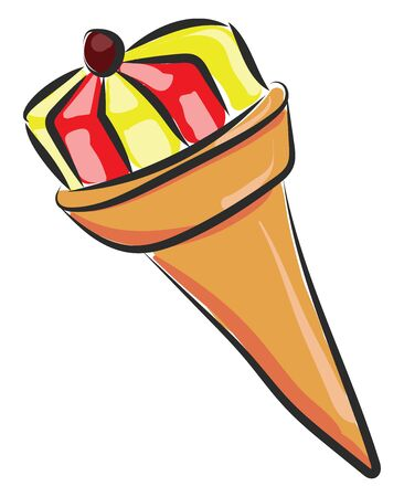 Ice cream in cone with yellow and red color and cherry on top, vector, color drawing or illustration.