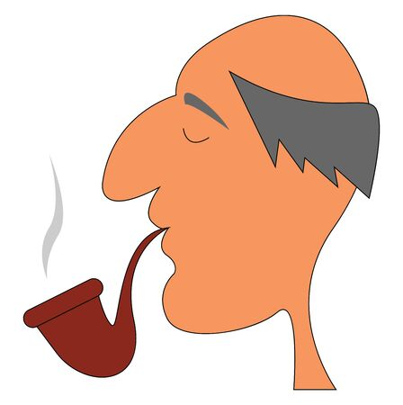A bald old man smoking tobacco in a brown colored pipe, vector, color drawing or illustration.