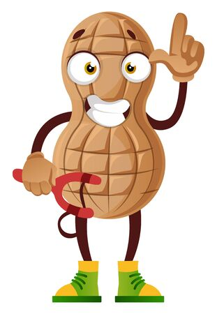 Peanut with sling, illustration, vector on white background.