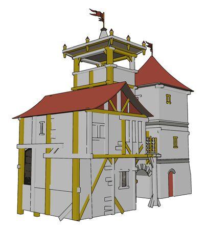 Medieval castle, illustration, vector on white background.