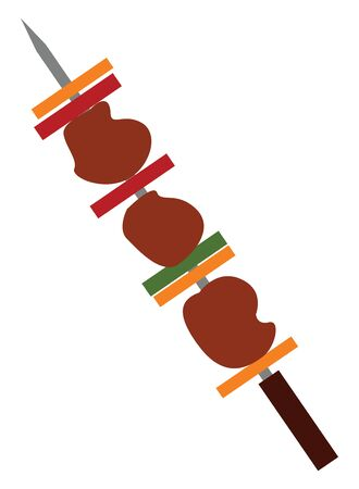 Barbecue is a meal, pieces of beef, fowl, fish or similar food items, roasted on a rack oven on open fire or on a special appliance outdoor., vector, color drawing or illustration. Archivio Fotografico - 132773348