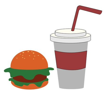 A colour illustration of a burger and cold drink, vector, color drawing or illustration.