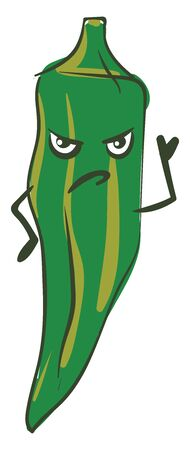 Green okra with two angry eyes, a frown and two arms, vector, color drawing or illustration.