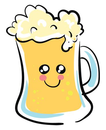 Beer is an alcoholic drink made from grain and hops., vector, color drawing or illustration.  イラスト・ベクター素材