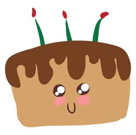 Cake is a kind of bread which is normally baked. It is served as a dessert., vector, color drawing or illustration. 일러스트