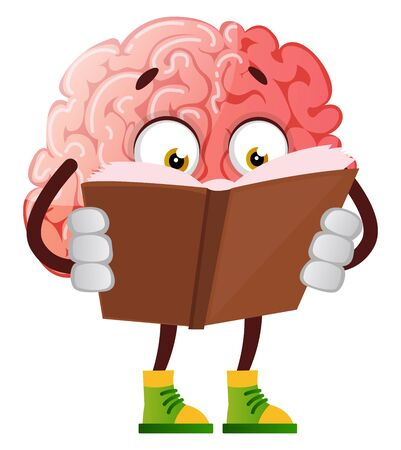 Brain is reading a book, illustration, vector on white background.