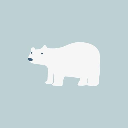 A cute white polar bear color illustration. It looks like it is searching something, vector, color drawing or illustration. Stock fotó - 132696524