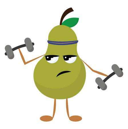 Green coloured pear holding dumbbells in both hands, vector, color drawing or illustration.