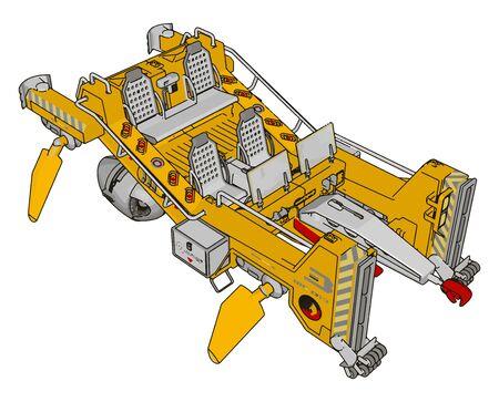 Part of excavator, illustration, vector on white background. Ilustração