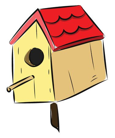 Bird house are manmade bird nest created for birds. Sometimes, birds use this as their nest., vector, color drawing or illustration.