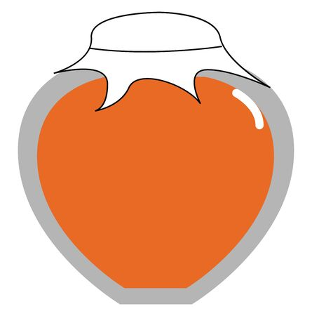 An orange jam in a glass jar with a white lid. Looks yummy, vector, color drawing or illustration. Çizim