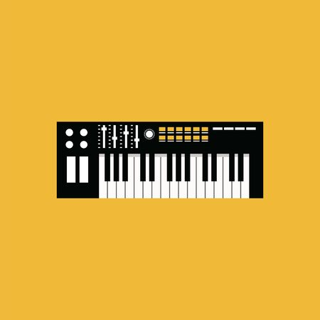 A black and white piano with black and white keyboard and different switches, vector, color drawing or illustration.