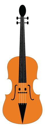 A brown colored violin with eyes, two hands, and a smile, vector, color drawing or illustration.