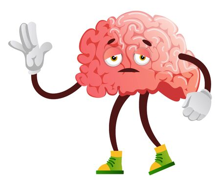 Brain is feeling sleepy, illustration, vector on white background.