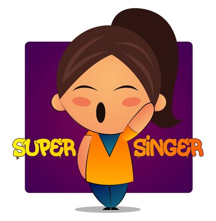 Singing girl with brown ponytail and purple background, illustration, vector on white background.