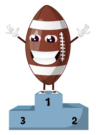 Rugby ball is standing on a winning throne, illustration, vector on white background.