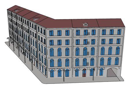 Big building, illustration, vector on white background. Иллюстрация