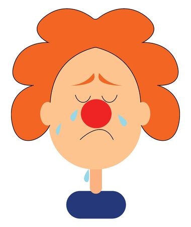 It is an image of clown crying. Crying is shedding tears because of sadness, rage or pain., vector, color drawing or illustration. Иллюстрация
