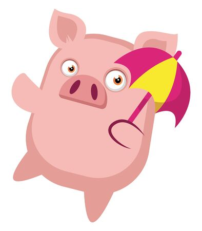 Piggy is holding a umbrella, illustration, vector on white background. Çizim