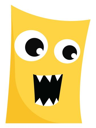 Clipart of a ferocious rectangular-shaped yellow monster with eyes rolled left, fang teeth exposed while mouth wide opened as if to explode with rage, vector, color drawing or illustration.