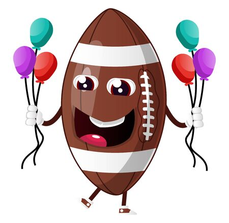 Rugby ball is holding baloons, illustration, vector on white background.