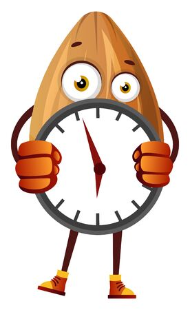 Almond hiding behind big clock, illustration, vector on white background.