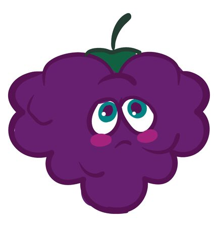 A melancholic purple colored blackberry with a green stem and a frown on the face. Healthy and nutritious fruit, vector, color drawing or illustration. Imagens - 132689767