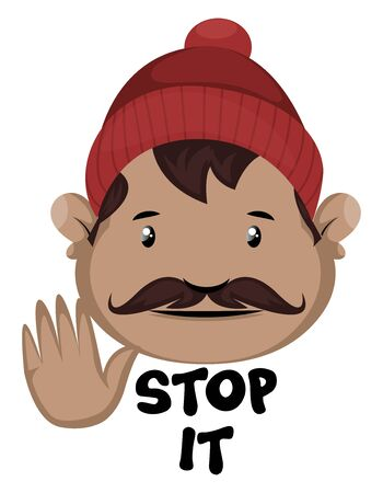 Man is showing stop with hand, illustration, vector on white background.