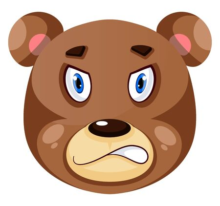 Bear is feeling angry, illustration, vector on white background.