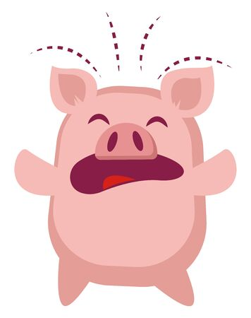 Piggy is crying, illustration, vector on white background.