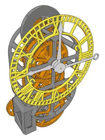 Clock mechanism, illustration, vector on white background. 向量圖像
