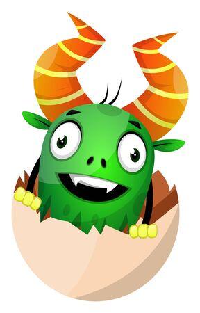Monster in egg shell, illustration, vector on white background.