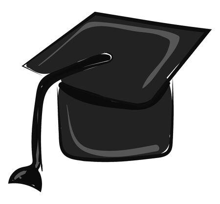 A illustration of a black graduation cap., vector, color drawing or illustration.