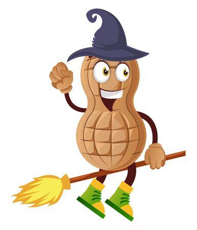 Peanut flying on broom, illustration, vector on white background.