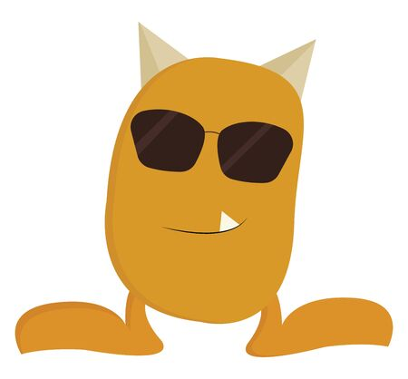 A cool-looking yellow monster with sunglasses has two small horns and an oval-shaped body and a single white fang tooth projecting outward while standing, vector, color drawing or illustration.