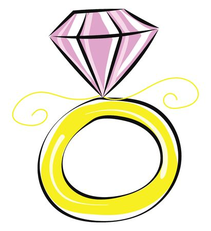 It is a design of ring having a piece of diamond on top of it., vector, color drawing or illustration. Stock Illustratie