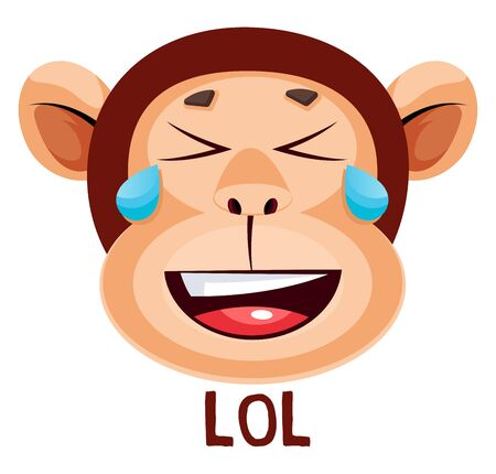 Monkey is surprised, illustration, vector on white background.