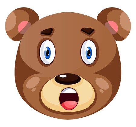 Bear is feeling surprised, illustration, vector on white background.