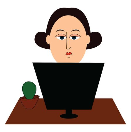 A woman working on computer with tired face, vector, color drawing or illustration. Ilustrace