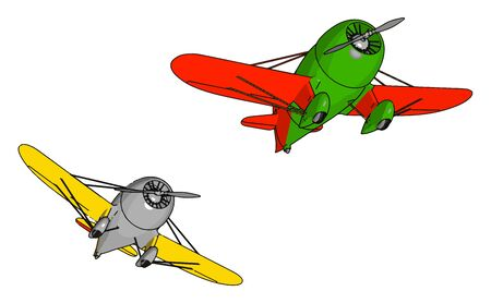 Two old retro planes, illustration, vector on white background.