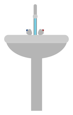 Grey colored washbasin with a tap for hot and cold water, vector, color drawing or illustration.
